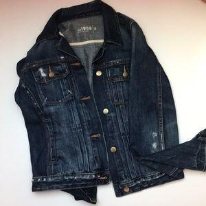 Distressed navy blue Gap jean jacket size S